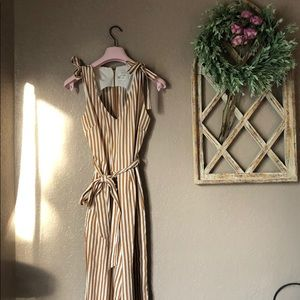 Anthropologie Striped Mustard Jumpsuit Bows